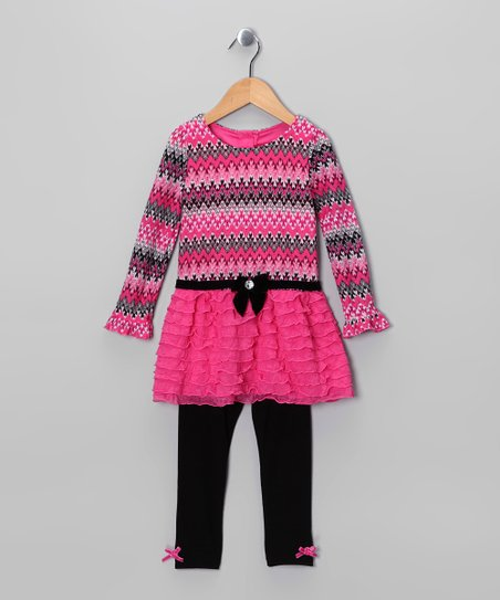 Dark Pink Ruffle Tunic & Leggings - Infant & Toddler