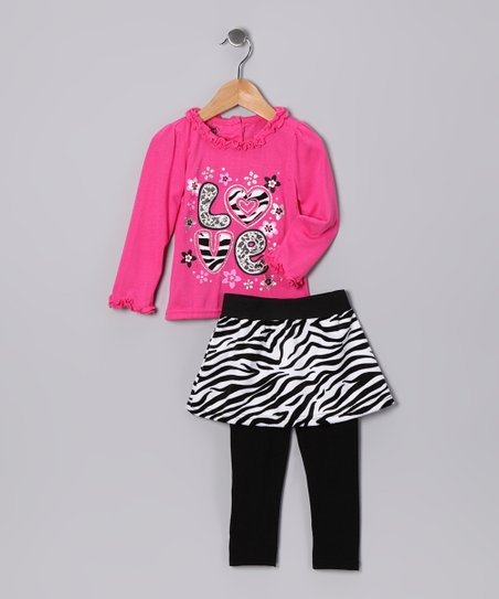 Dark Pink Zebra 'Love' Skirt Set - Girls