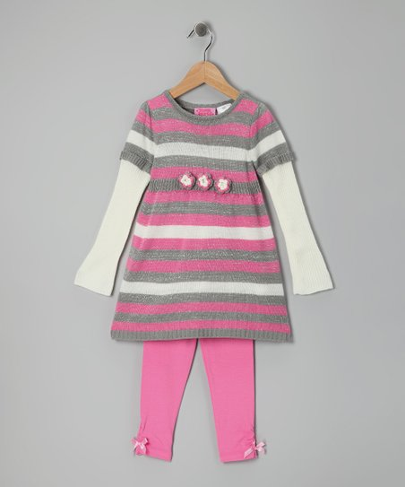 Gray Stripe Layered Tunic & Leggings - Infant