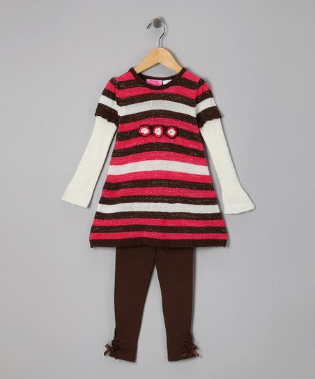Orange Stripe Layered Tunic & Leggings - Infant, Toddler & Girls