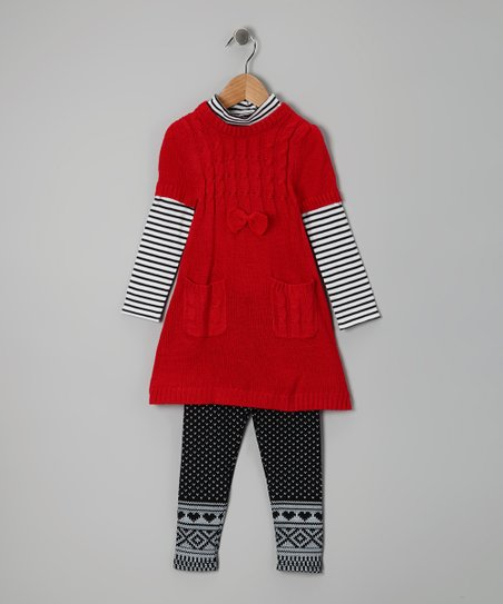 Red & Black Cable-Knit Tunic & Leggings - Girls