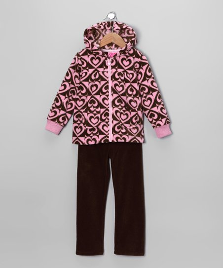 Pink Heart Fleece Zip-Up Hoodie & Pants - Infant