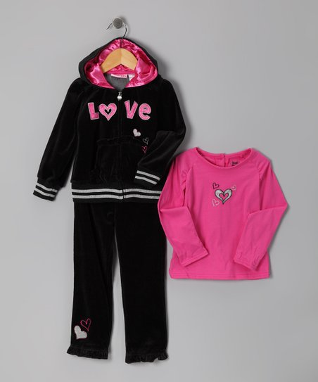 Black 'Love' Zip-Up Hoodie Set - Infant