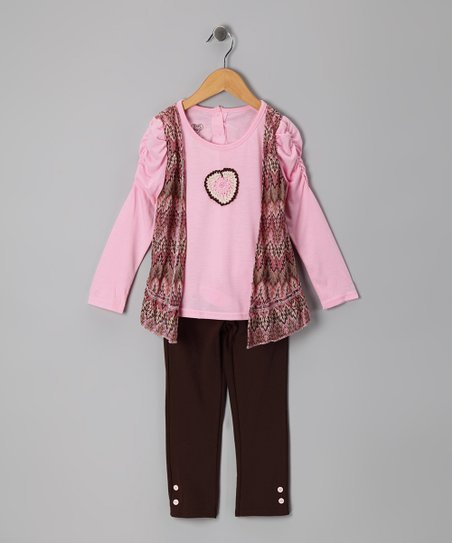Pink Zigzag Faux Vest Top & Leggings - Infant & Toddler