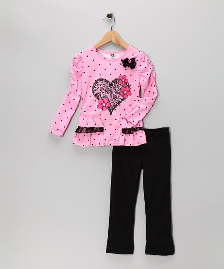 Pink Heart Tunic & Black Pants - Girls