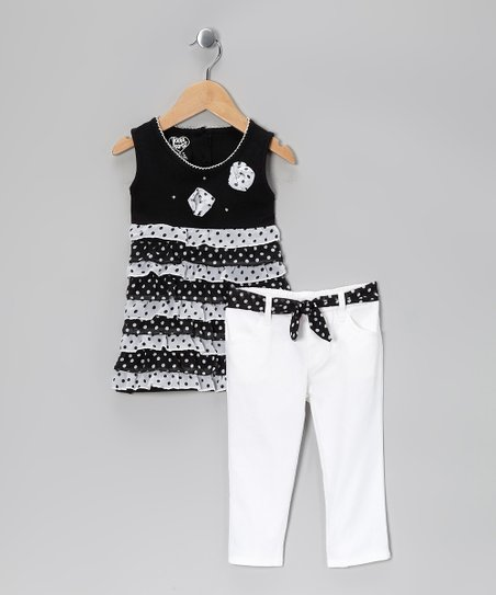 Black Polka Dot Ruffle Tunic & White Pants - Infant & Toddler