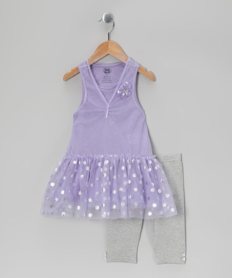 Purple Polka Dot Tunic &amp; Gray Leggings - Infant, Toddler &amp; Girls