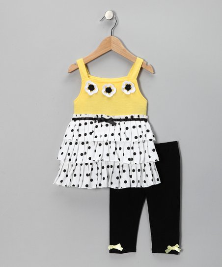 Yellow Polka Dot Ruffle Tunic & Leggings - Infant & Toddler