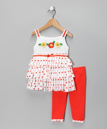 Orange Polka Dot Ruffle Tunic & Leggings - Infant & Toddler