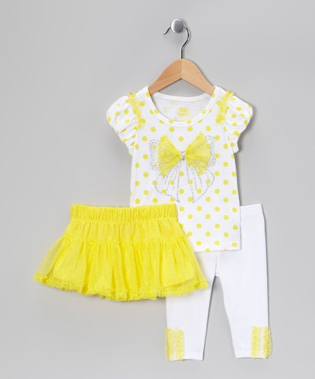 Yellow Glitter Ruffle Skirt Set - Toddler