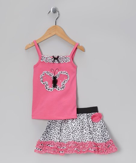 Pink Ruffle Butterfly Tank & Leopard Skirt - Infant