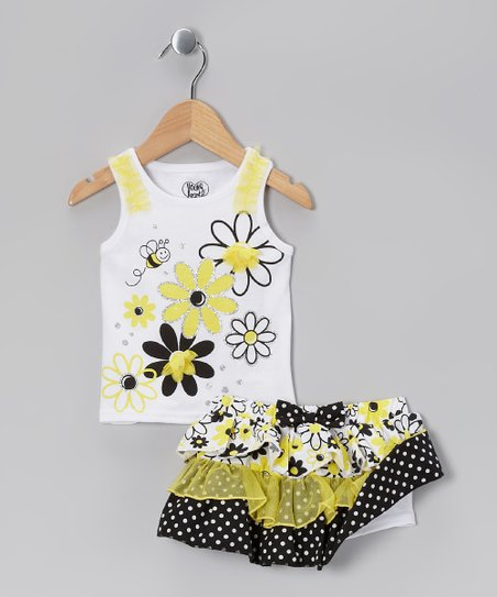 White & Yellow Bee Tank & Tiered Skirt - Infant & Girls
