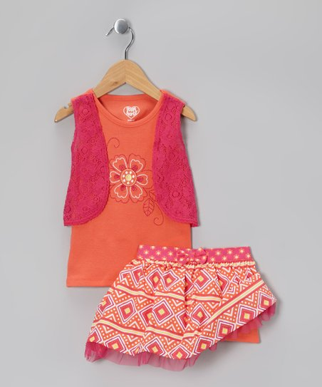 Orange Floral Lace Layered Tank & Skirt - Infant, Toddler & Girls