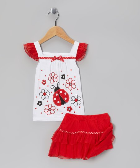 White Ladybug Tank & Red Tiered Skirt - Infant, Toddler & Girls