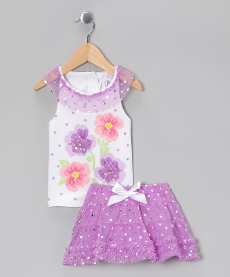 White Floral Tank & Purple Ruffle Skirt - Infant & Girls
