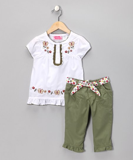 White Butterfly Tunic & Olive Green Pants - Toddler & Girls