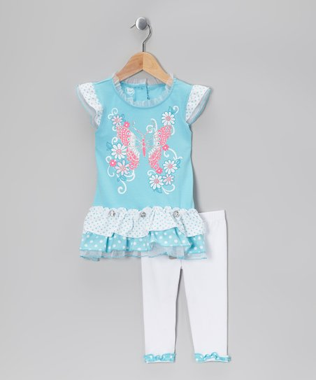 Teal Butterfly Ruffle Tunic &amp; White Leggings - Toddler &amp; Girls