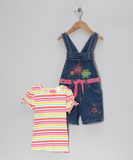 Pastel Stripe Tee &amp; Denim Floral Shortalls - Infant &amp; Girls