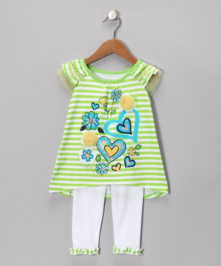 Green Heart Tunic &amp; White Leggings - Infant, Toddler &amp; Girls