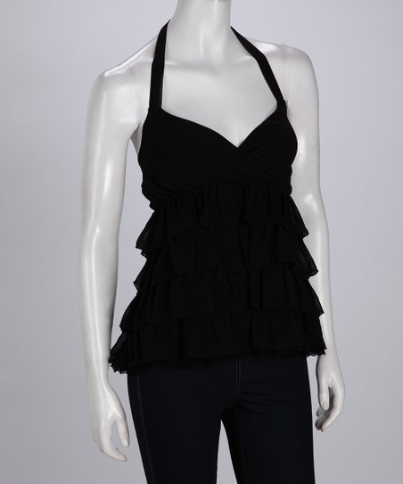 Black Ruffle Halter Top