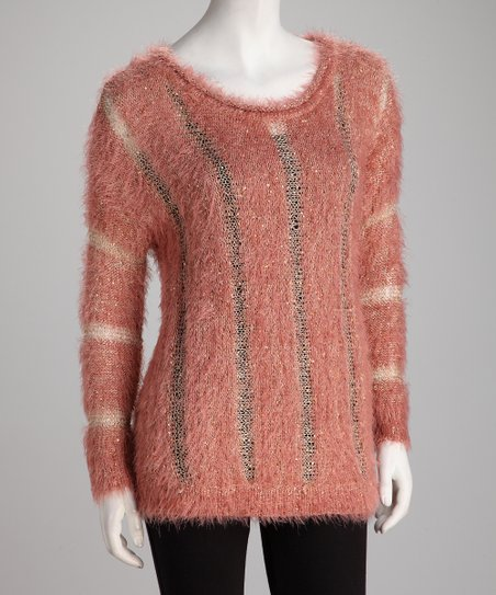Rose Fuzzy Yarn Striped Sweater