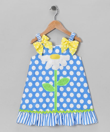Blue Polka Dot Daisy Dress - Girls