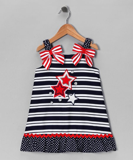 Blue & White Stars & Stripes Dress - Toddler & Girls
