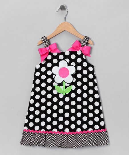 Black Daisy Polka Dot Dress - Girls