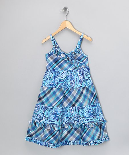 Blue Plaid &amp; Paisley Dress - Girls