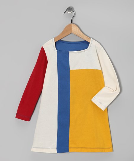 Yellow & Blue Organic Mondrian Dress - Toddler & Girls