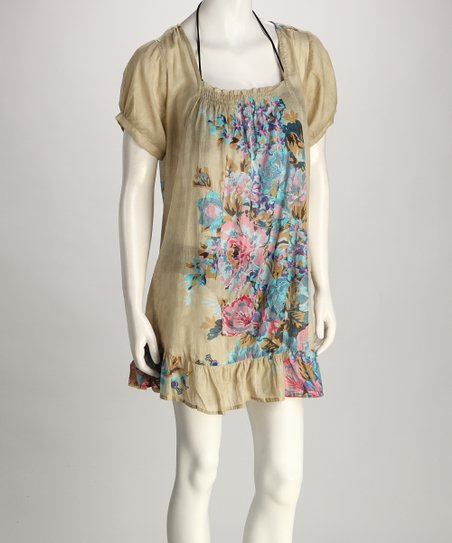 Yuka Beach Khaki & Blue Flower Cover-Up
