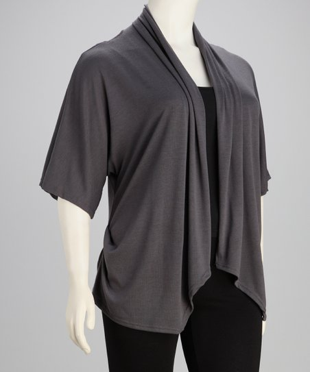 Gray Lace-Back Tapered Open Cardigan - Plus