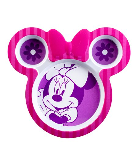 Pink Minnie Mouse Sectioned Plate - Set of Two