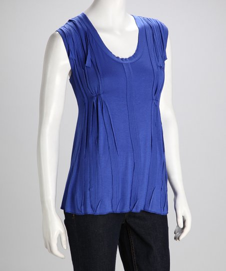 Ocean Pleated Sleeveless Top