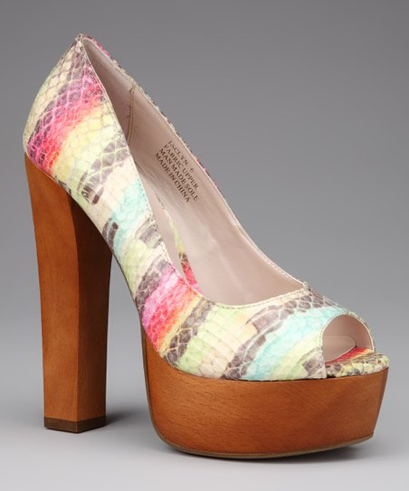 Natural Stripe Jaclyn Platform Pump