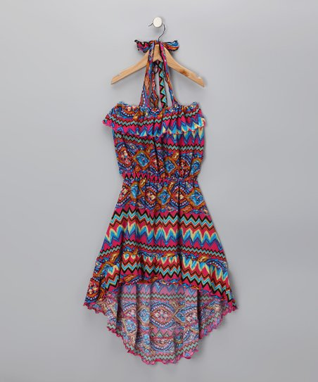 Red & Pink Zigzag Halter Dress - Toddler & Girls