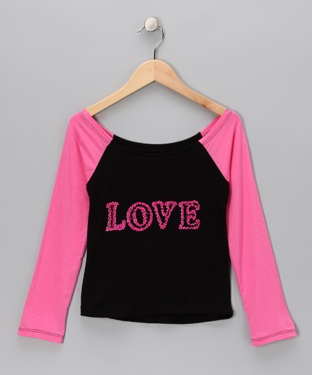 Black & Pink 'Love' Raglan Top - Girls