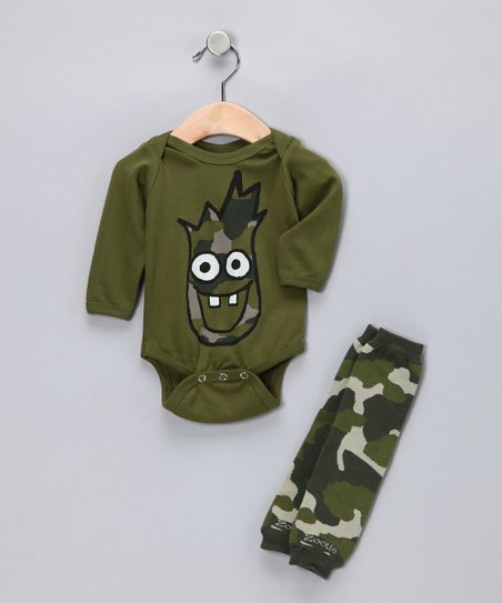 Green Camouflage Boy Bodysuit & Leg Warmers