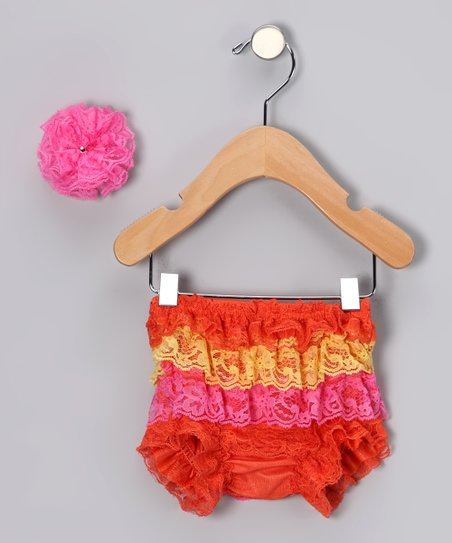 Orange Lace Ruffle Bloomers Set - Infant & Toddler