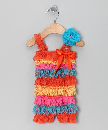 Orange &amp; Blue Lace Ruffle Romper &amp; Flower Clip - Infant &amp; Toddler