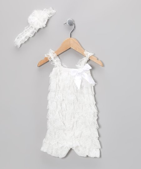 White Lace Ruffle Romper & Flower Headband - Infant & Toddler