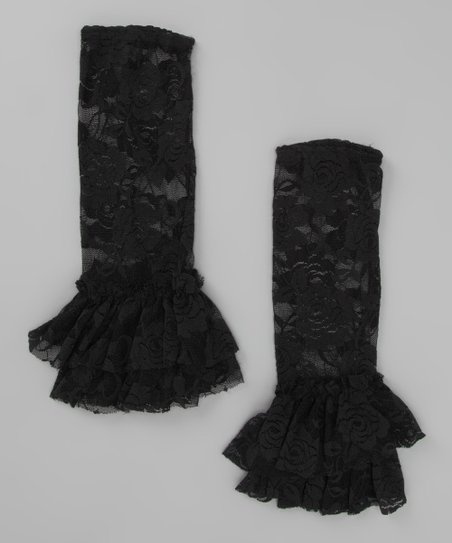 Black Lace Flared Leg Warmers
