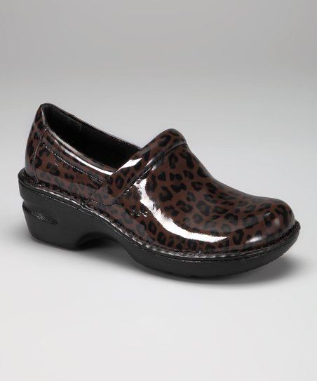 Dark Brown Leopard Patent Peggy Clog
