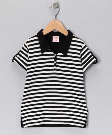 Black &amp; White Stripe Organic Polo - Toddler &amp; Boys