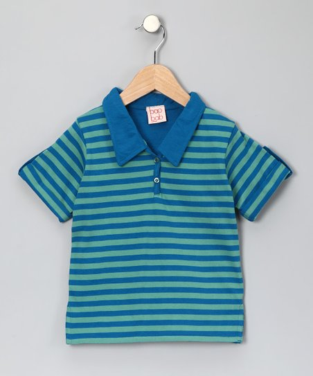 Blue Stripe Organic Polo - Toddler &amp; Boys