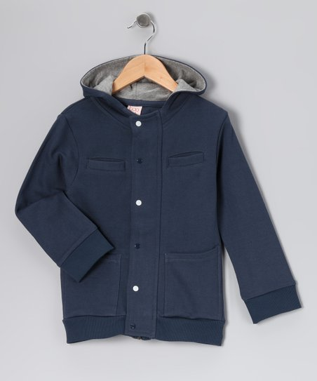 Navy Organic Zip-Up Hoodie - Toddler & Boys