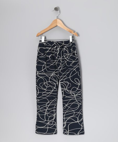 Navy Scribble Organic Pants - Toddler & Boys