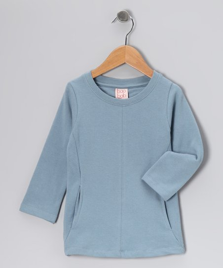Dusty Blue Pocket Organic Tee - Toddler &amp; Kids
