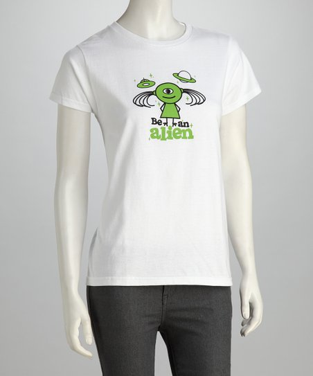 White 'Be an Alien' Relaxed-Fit Tee - Women