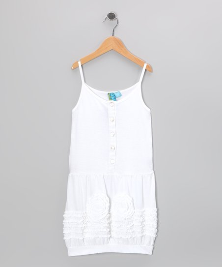 White Rosette Button Dress - Girls